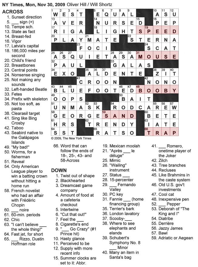The New York Times Crossword in Gothic: November 2009