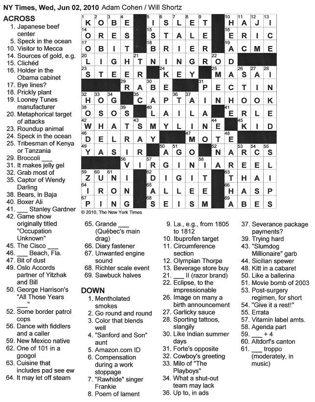 The New York Times Crossword in Gothic: 06.02.10 — Gone