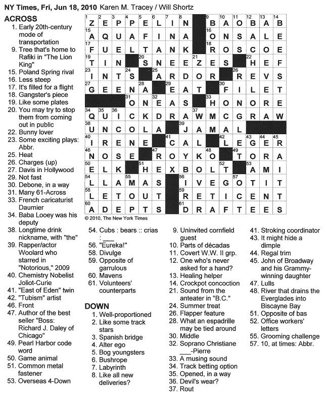 The New York Times Crossword in Gothic: 06.18.10 — Office