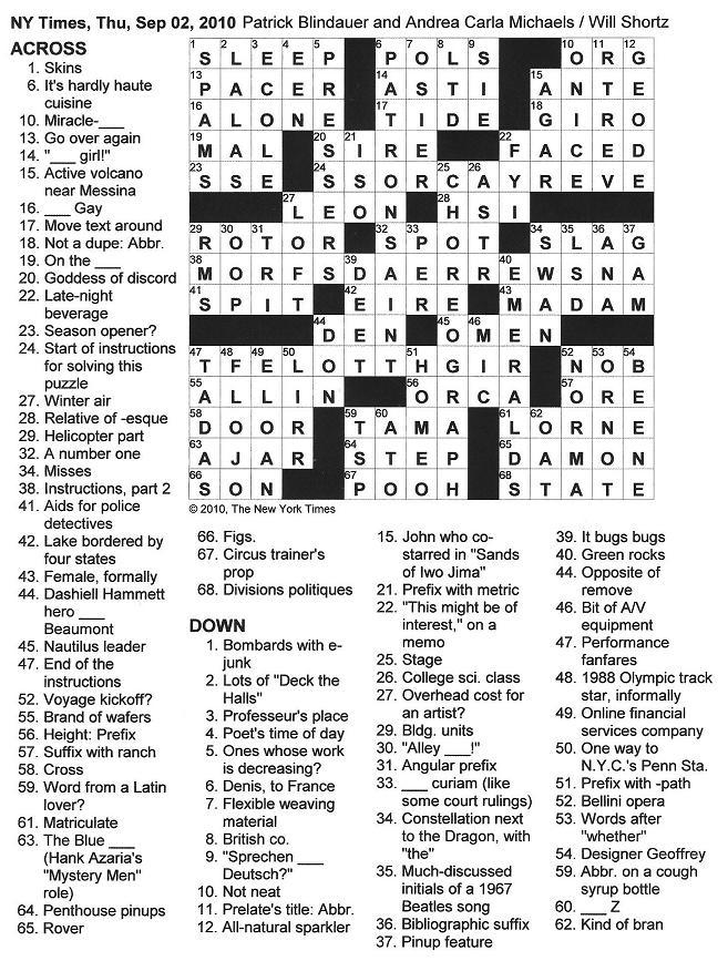 The New York Times Crossword in Gothic: 09.02.10 — Nothing ...