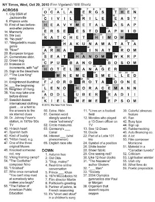 The New York Times Crossword in Gothic: 10.20.10 — What a