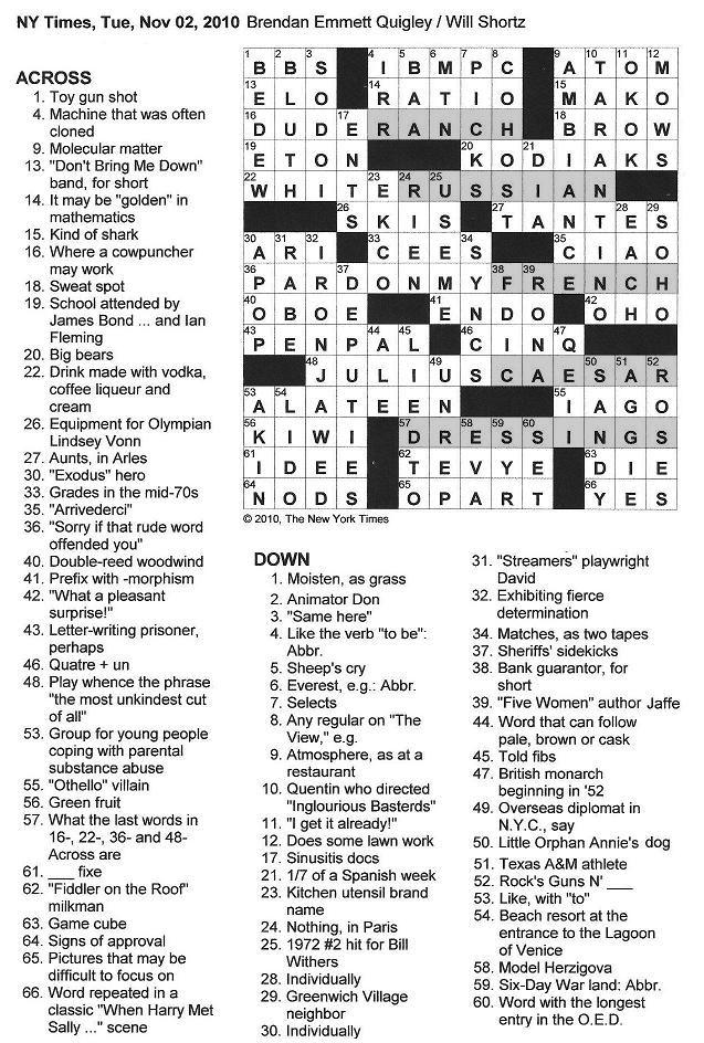 The New York Times Crossword in Gothic: 11.02.10 — Dressings