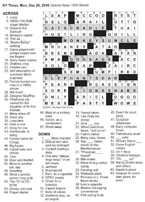 The New York Times Crossword in Gothic: 12.20.10 — Monday ...