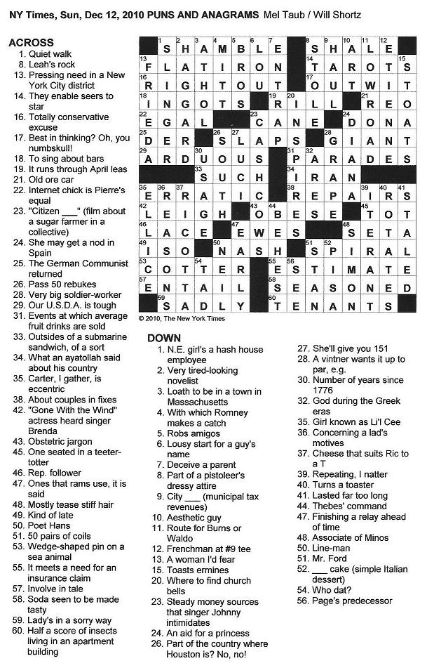 The New York Times Crossword In Gothic 12 12 10 Grown For A