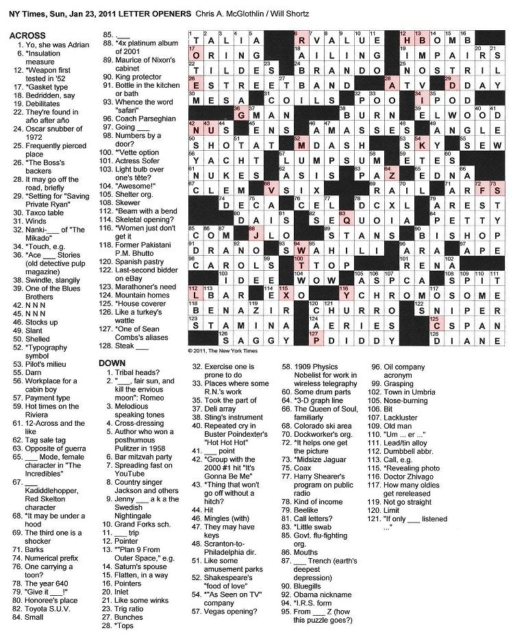 The New York Times Crossword in Gothic: January 2011