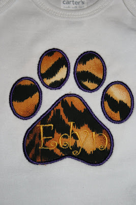 Trucks and Tutus Boutique LSU Tiger Print Burp Cloth and