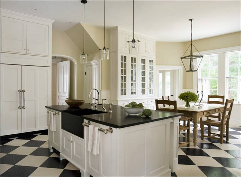 Kitchen-Black And White Floor Tiles
