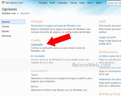 Opciones de Windows Live