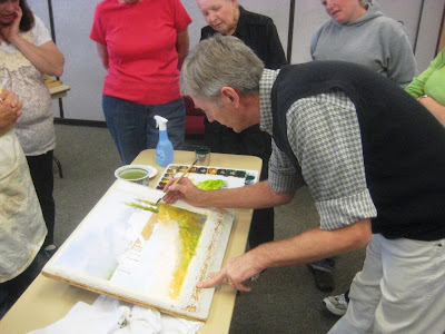 Watercolorist Ian Ramsay at a Utah Watercolor Society workshop in Salt Lake City