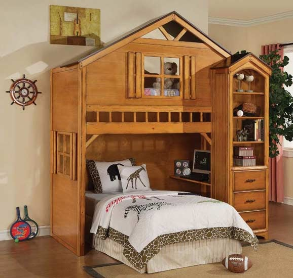 House Wood Twin Loft Bed With Desk Drawer Shelf Best