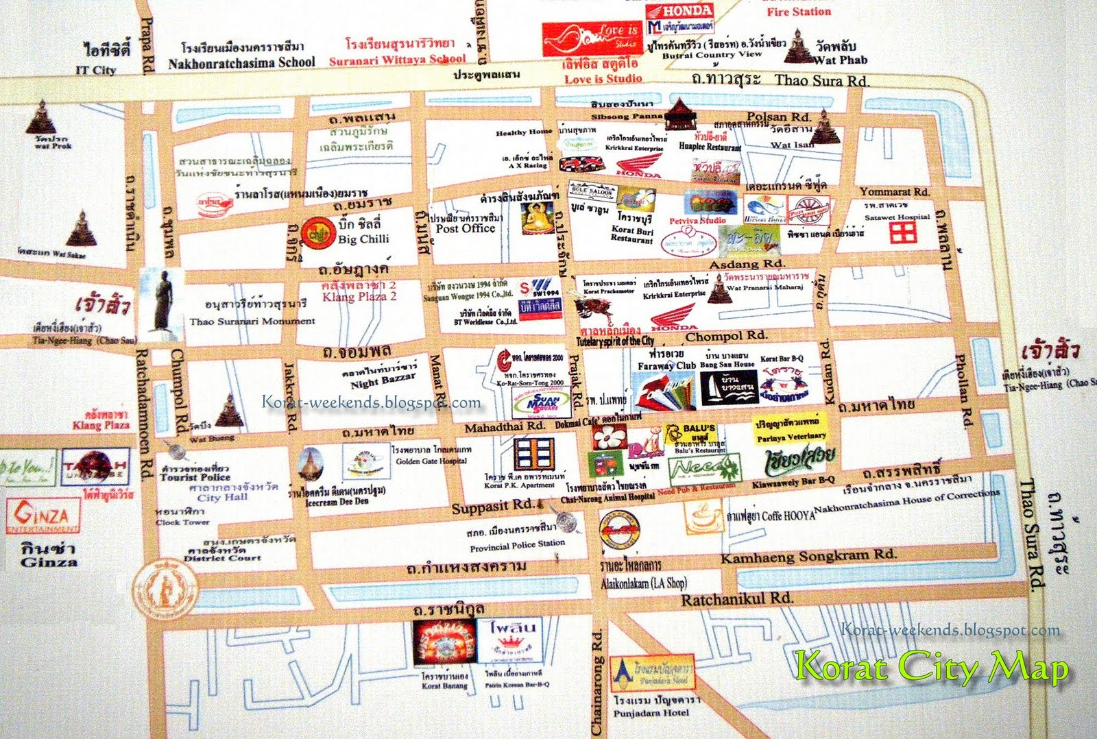 detailed map of korat thailand - HD1600×1078