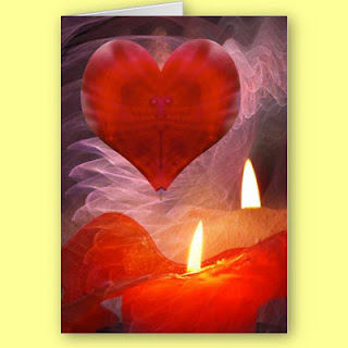 Burning Love Candles Card