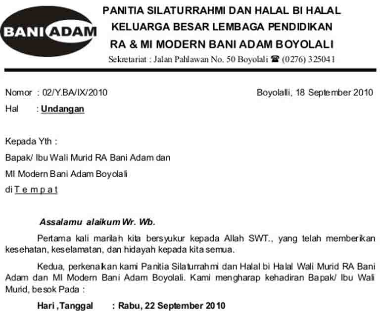 Bani Adam Boyolali Contoh Surat Undangan Halal Bi Halal