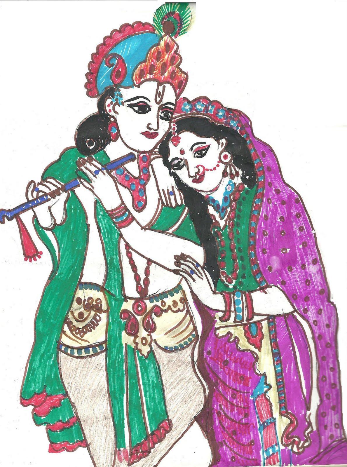 Soft Toys Rangoli Fabric Paint Radha Krishna