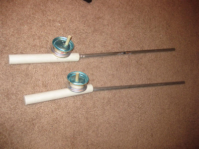 homemade ice fishing poles, aluminum, beer can, pvc tube