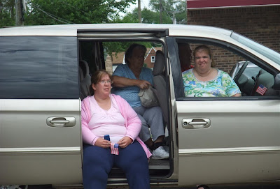 3 fat women in a van, at the memorial day parade, redford, township