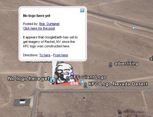 Advertising Lab: Giant KFC Logo Seen on Google Earth on google starbucks, google nike, google target, google disney, google bank of america,