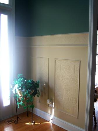 Remodelaholic   Faux Carved Wainscoting Using Paintable Textured Wallpaper