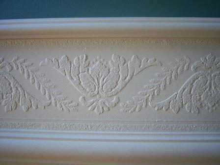 We did the same with the wallpaper border fitting it in between to two pieces of trimwork that marked the top of the chair rail. : chair rail wallpaper border - Cheerinfomania.Com