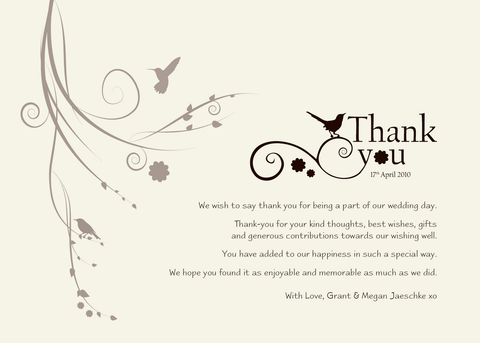 Thank You Card Wording Ideas Wedding – Wording for Wedding Thank You Cards
