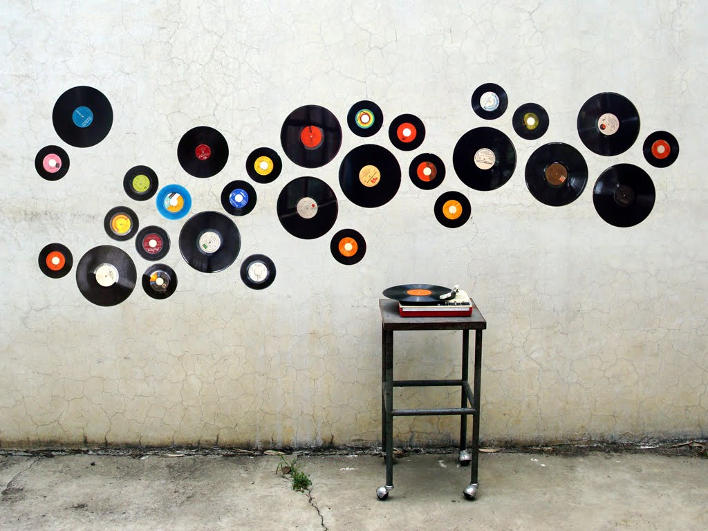 Installation with vinyl records and turntable
