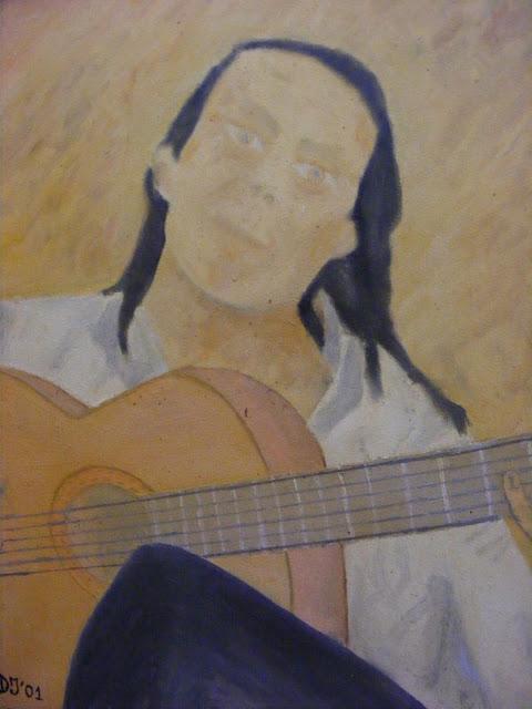Cuadros y pinturas de Diegosax Retrato de Paco de Lucía y Autoretrato de Diegosax en un Cuadro al Oleo