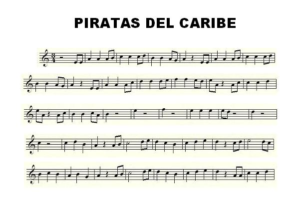 Easy Sheet Music for Pirates of Caribbean in Treble Clef (Recorder, Violin, Flute, Oboe, Trumpet, Saxophones, Horns...) Partition - Spartiti - Noten - Partiture