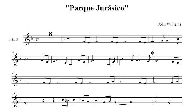 Aquí tenéis la Partitura Fácil en Clave de Sol para Flauta, Saxofón, Trompeta, Clarinete, Violín, Clarinet... en la Tonalidad de Fa Mayor Jurassic Park Easy Sheet Music in Treble Clef in Key F