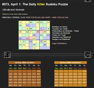 3dde419a631 daily killer sudoku