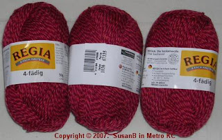 red Regia sockwool yarn