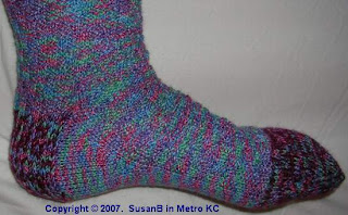 foot of hand knit knee sock