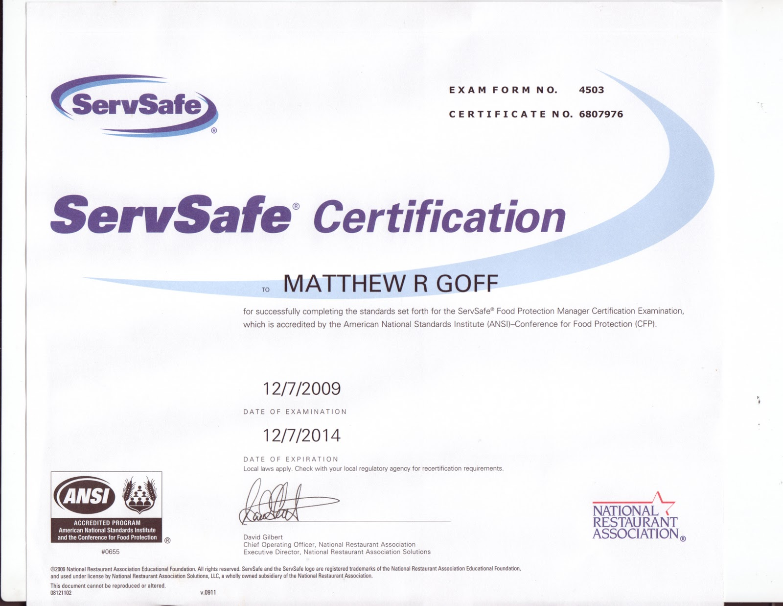 servsafe certificate template - matthew goff 39 s portfolio certifications and scholarships