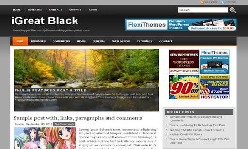 iGreat Black Blogger Template