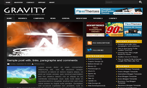Gravity Blogger Template