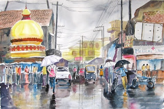 A city soaked - watercolor