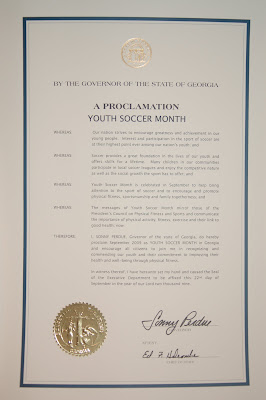soccer+proclamation+2 GOVERNOR SONNY PERDUE PROCLAIMS SEPTEMBER 2009 AS YOUTH SOCCER MONTH IN THE STATE OF GEORGIA