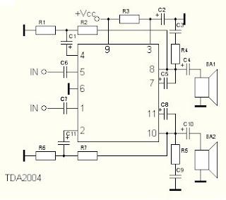 Микросхемы УНЧ: tda2004 схема
