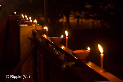 Posted by Ripple (VJ) : Diwali Celebrations 2008 (Indian Festivals of Lights): A row of Candles and Clay Diyas on Diwali Day