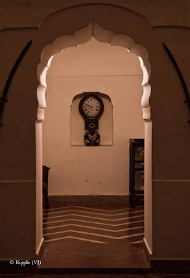 Posted by Ripple (VJ) : A weekend @ Surajgarh Fort : Wall clock hanging at reception @ Surajgarh Fort, Rajasthan