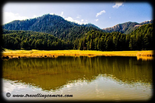 When you get your first glimpse of Khajjiar, it is a shock to senses. One does not expect to come across a huge expanse of green grassland right in the middle of steep hills and mountains. Once you get over the shock, it is a pleasant sight. The lush green grassland surrounded by petite cottages and magnificient deodars is very soothing to the eyes. Almost like a painting.khajjiar, Himachal Pradesh, Hills, himalayas, Lakes, Water, Horses