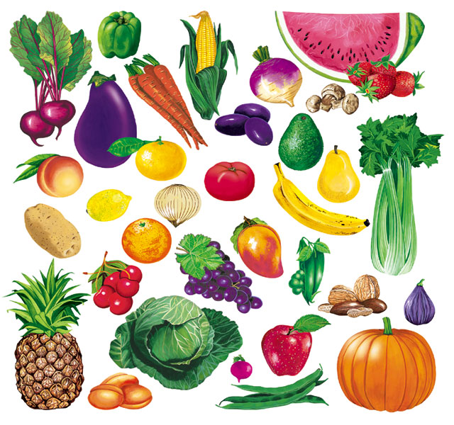 kids under 7 fruits vegetables pictures for classroom