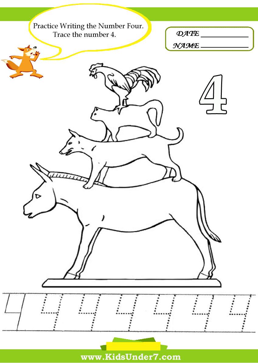 Kids Under 7: Number Tracing -1-10 - Worksheet. Part 2