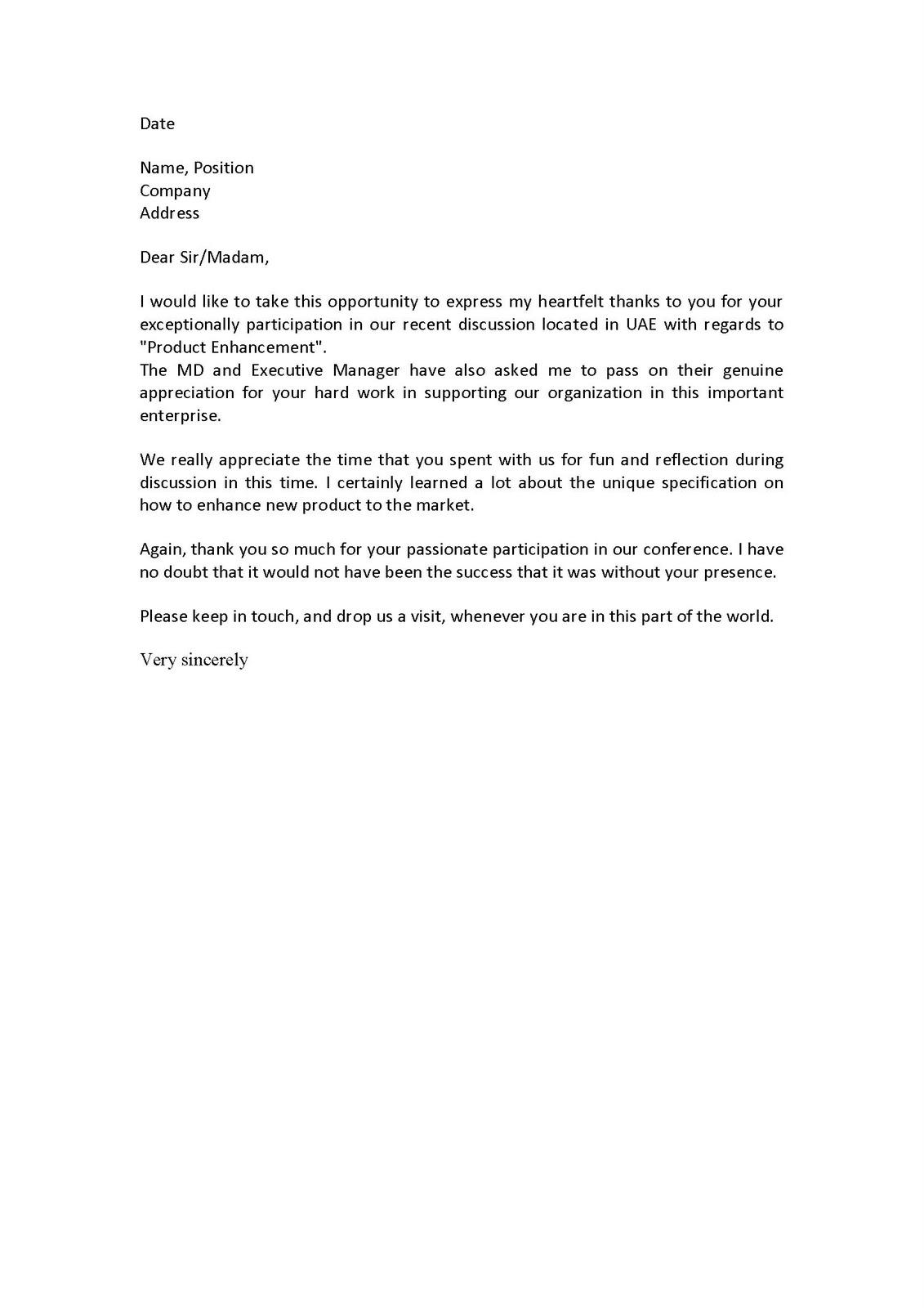 recognition letter samples