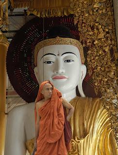 Yangon - Shwedagon Paya. Buddha and monk