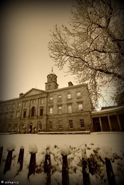 Neve a Dublino su O' Connell street