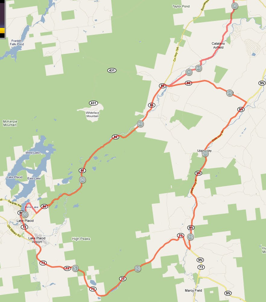 RunTri: Ironman Lake Placid Bike Course Map