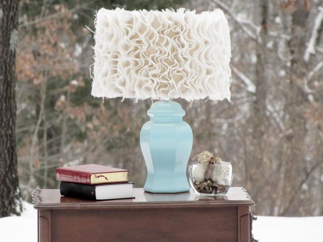 guest project u2014 ruffled burlap lamp