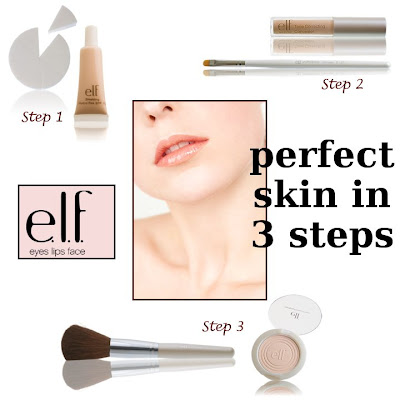 E.L.F. Cosmetics, 3 steps to flawless skin, tinted moisturizer, blending wedges, concealer, concealer brush, total face brush, clarifying powder