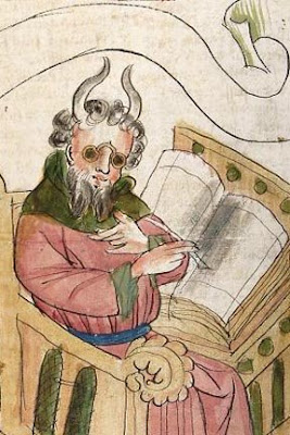 Moisés usando óculos, Bíblia Alemã,Cod. Pal.Germ 19 fol 141 v, Universitatsbibliothek,Heidelberg.