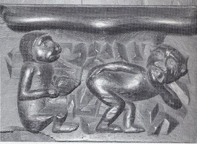 Macaco a pôr edema - misericórdia de cadeiral da Colegiada de Villefranche-de-Rouergue,séc.XV